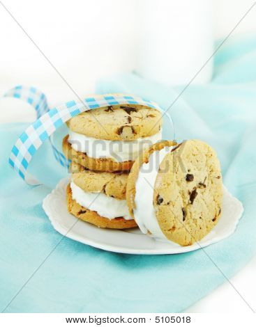 Chocolate Chip Cookie And Ice Cream Sandwiches