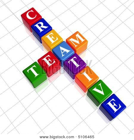 3d colour cubes with white letters like crossword with text - creative team poster