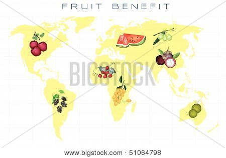World Map With Fruits Production And Consumption
