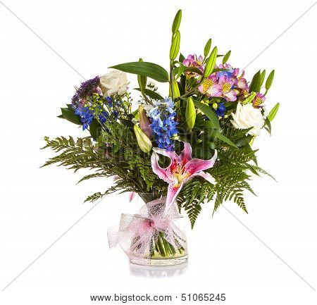 Colorful bouquet flower arrangement in vase on white background poster