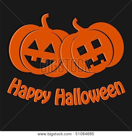 Halloween Background.two Pumpkin Orange On A Dark Background.decoration For Halloween.vector