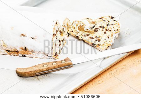 Christmas Stollen Cake On A Tray