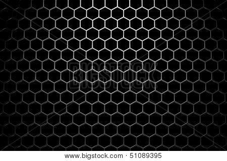 Steel Grid With Hexagonal Holes Under Wide Spot Light