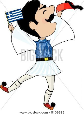 A Greek Evzone dancing with Flag and his hat poster