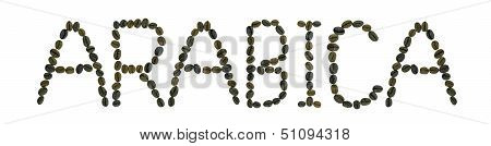 word Arabica made from coffee beans