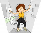 Illustration of a Woman in a Rest Room Going Through a Bout of Irritable Bowel Sydrome poster