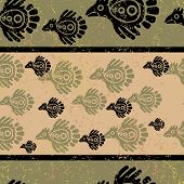 Seamless green grunge Mexican pattern with birds poster