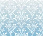 Vector decorative floral ornament on a blue background poster