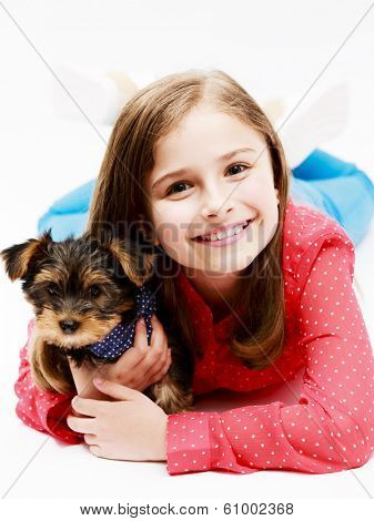 poster of Young girl with  puppy, cute Yorkshire terrier  - best friends