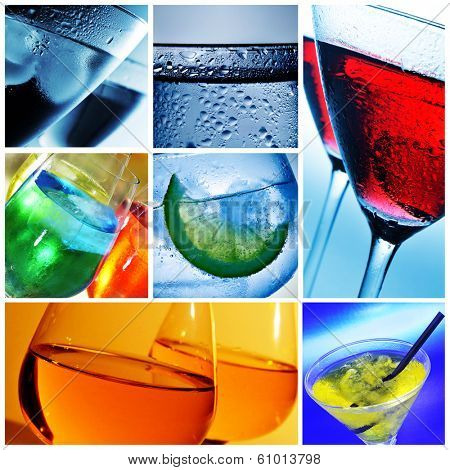 a collage of nine pictures of different cocktails