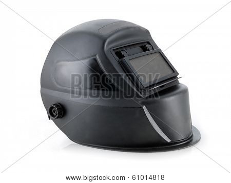 Black arc welding helmet over white