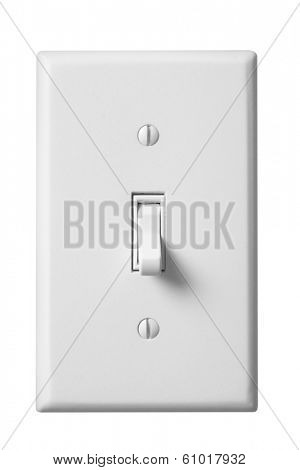 White light switch and faceplate on white background