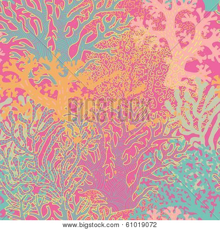 Bright underwater seamless pattern with beautiful corals. Stylish abstract seamless pattern in vector