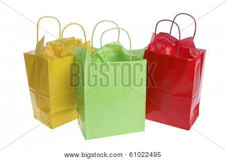 Three colorful gift bags