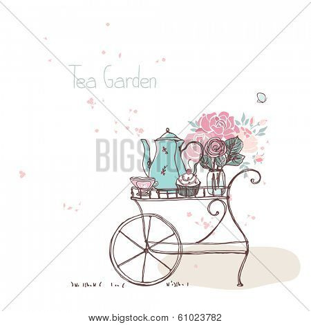 garden theme, vintage tea cart