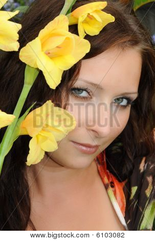 Girl With A Yellow Flower
