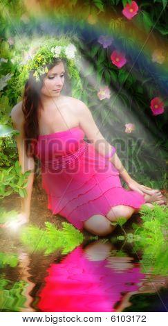 Girl In A Magic Garden