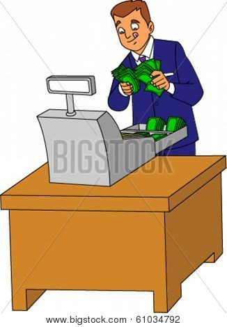 Greedy looking businessman salivating over wads of cash in cash register