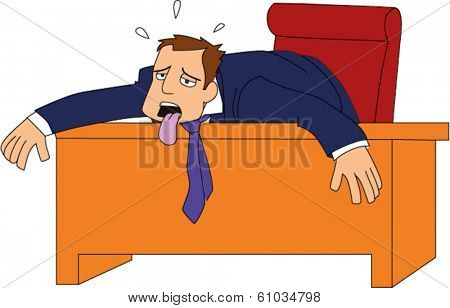 Businessman with tongue hanging out and weary body draped over desk