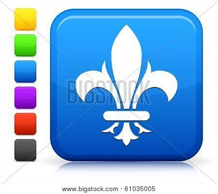 Fleur De Lis Icon on Square Internet Button Collection