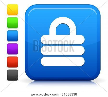 Lock Icon on Square Internet Button Collection poster