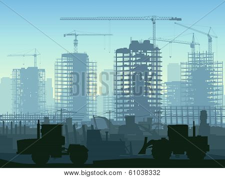 Illustration Of Construction Site With Crane And Building.
