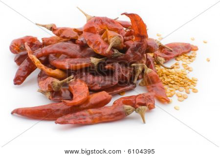 Dry Red Hot Chilly Pepper Isolated On White Background
