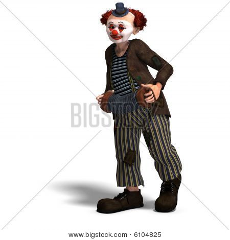 3D rendering of a funny circus clown with lot of emotions with clipping path and shadow over white poster