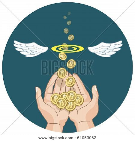 Bitcoins Flying From Hands And Disappearing