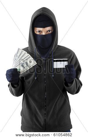 Burglar With Credit Card And Money