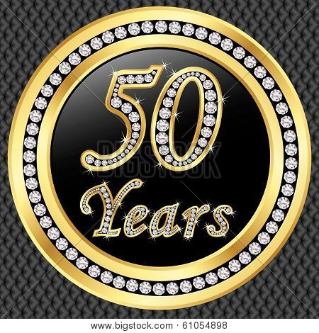 50 Years Anniversary Golden Happy Birthday Icon With Diamonds, Vector Illustration