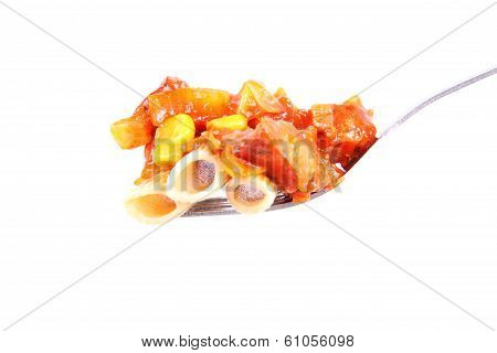 Some wholegrain rice with sauce (chicken, pea, pineapple, bell pepper, onion) on a fork