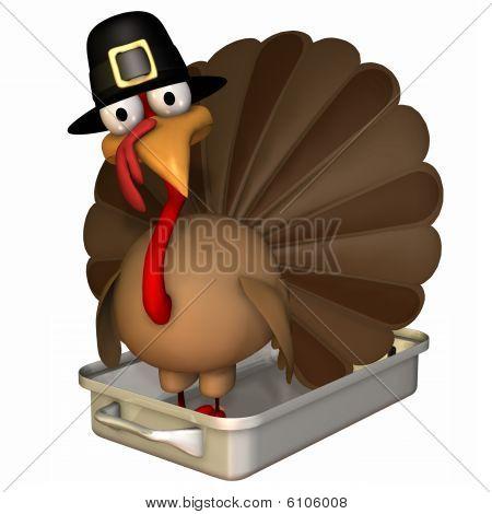Toon Turkey Roaster In Pilgrim Hat