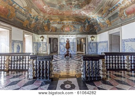 Lisbon, Portugal - September 15, 2013: Baroque Entrance Hall (Sala da Portaria) with a large lectern of the Sao Vicente de Fora Monastery. Very important monument of Lisbon, Portugal.