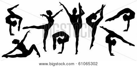 Silhouette Gymnast Dancer, Set Of Ballerina Female Flexible Pose, Human Over Isolated White Backgrou