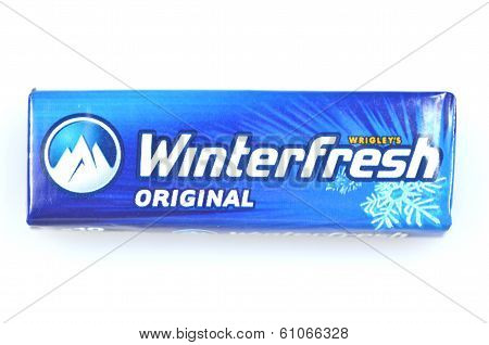 Winterfresh chewing gum isolated on white background