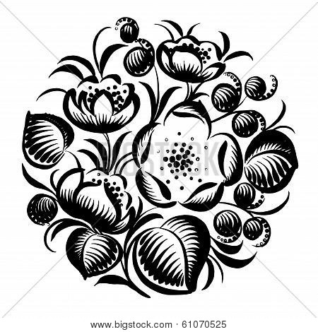 Decorative Silhouette Floral Circle