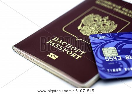 international passport and blue credit