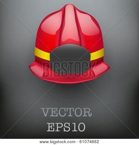 Red fireman helmet vector background