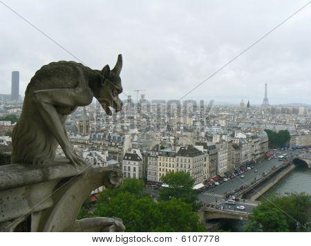 Chimera statue of Notre dame de Paris, Paris, France