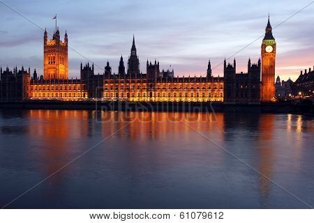 The Houses Of Parliment As Seen From Across The Thames River