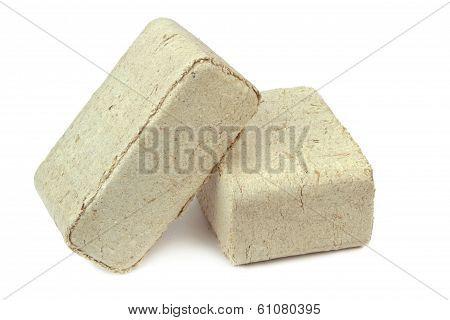 Pressed sawdust, wood briquettes