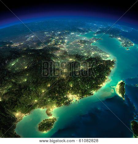 Night Earth. Eastern China And Taiwan
