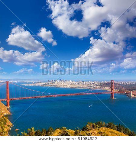 Golden Gate Bridge San Francisco GGB from Marin headlands in California USA