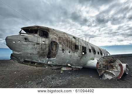 Wreck of a US military plane crashed in the middle of the nowhere. The plane ran out of fuel and crashed in a desert not far from Vik, South Iceland in 1973. The crew survived.