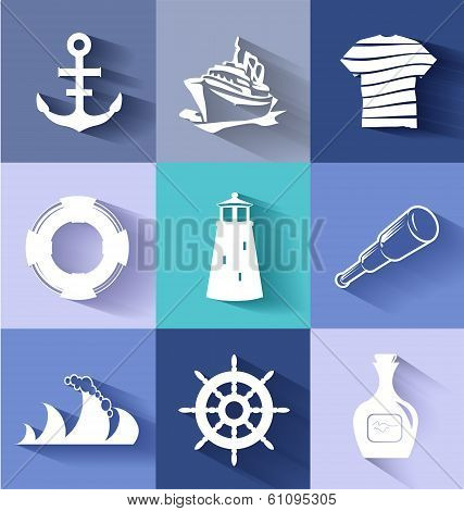 Sailor and ships flat icon set for creative needs poster