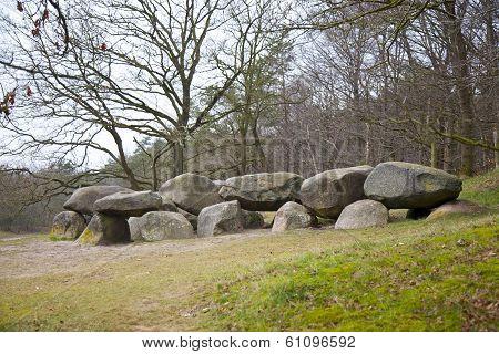 Old Stone Grave Dolmen In Drenthe, The Netherlands