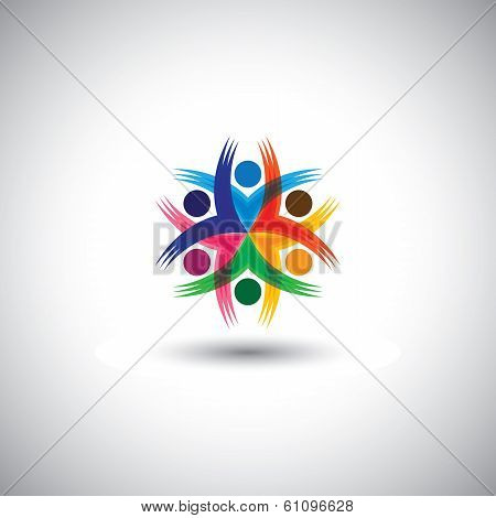 Happy Colorful Employees & Executives Unity & Diversity - Vector Graphic