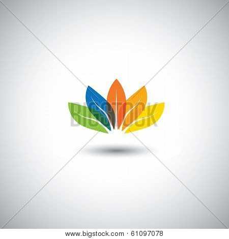 Multicolored Beautiful Spring Time Floral Blossom - Vector Graphic.