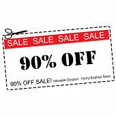 A red white and black Ninety Percent Off Sale Coupon making a great concept. poster